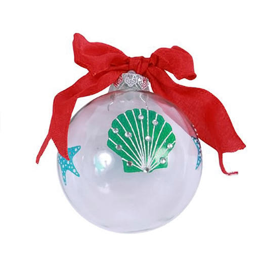 Scallop Shell Glass Ornament Aqua and Blue- 82047A