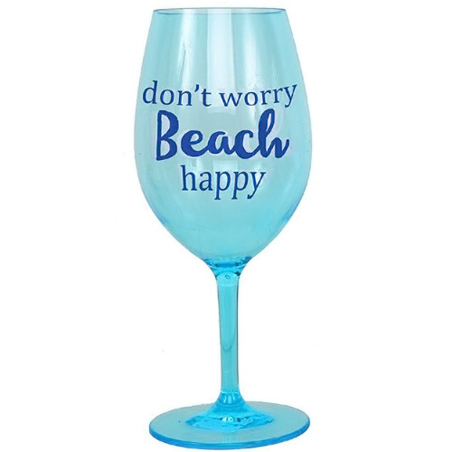 """Don't Worry, Beach Happy"" Shatterproof Acrylic Wine Glass"