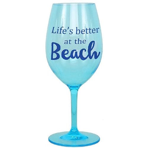 """Life's better at the beach"" Shatterproof Acrylic Wine Glass - 20853B"