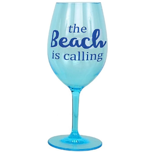 """The Beach is Calling"" Shatterproof Acrylic Wine Glass - 20853C"