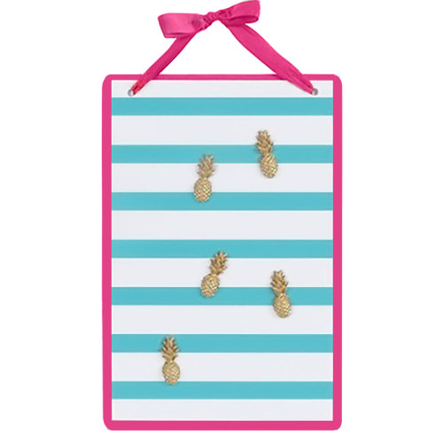 Blue Striped Magnetic Wall Board Sign with Pineapple Magnets 60571B