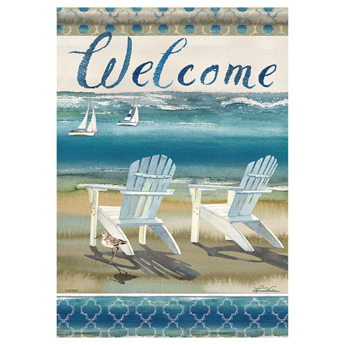 "Oceanside Beach Chairs Welcome House Flag - 40""x 28"" - 48822"
