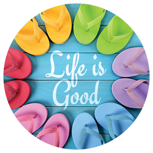 Flip Flop Life is Good Absorbent Stone Coaster for Car Cup Holder CB72933