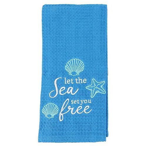 Let the Sea Set You Free Blue Dishtowel -20613A