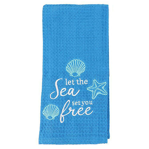 Let the Sea Set You Free Blue Dishtowel -20613A