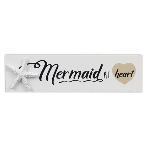 Mermaid at Heart Starfish Small Wood Block Sign