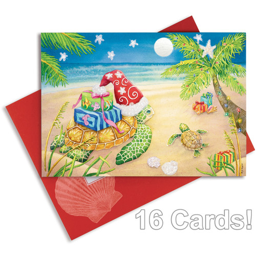 Christmas Cards Sea Turtle - Embellished with foil and glitter - 16 Per Box 27-099