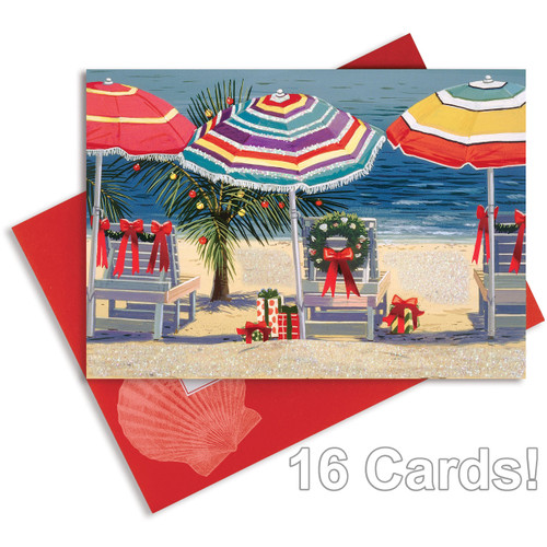 """Christmas Cards """"Tropical Holiday"""" with Glitter and Foil - Box of 16 - 25-442"""
