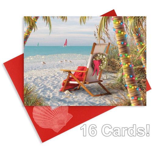 Christmas Cards Winter Beach - Glitter and Foil - Box of 16 - 27-114