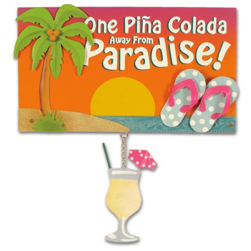 Beach Wood & Metal Sign Pina Colada - 30-003