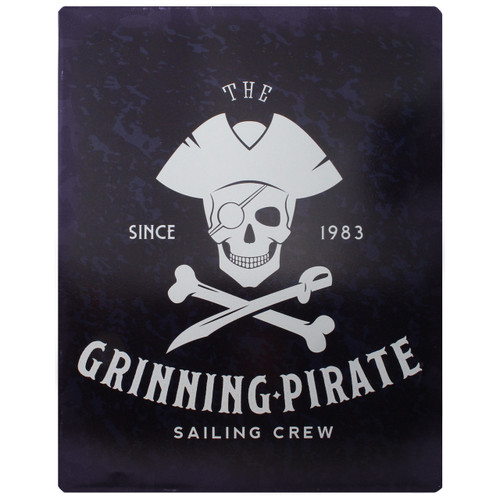 "Metal Grinning Pirate Sign - About 14"" Tall - W8735"