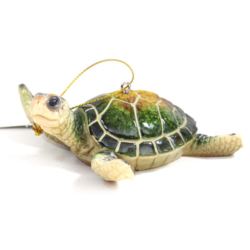 Green Sea Turtle Glass Ornament X-363