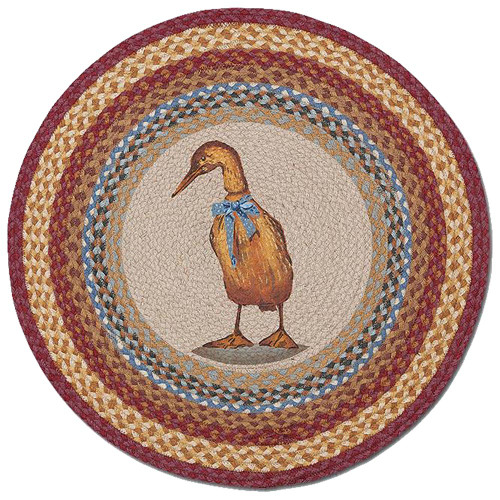 "Standing Duck 27"" Hand Printed Round Braided Floor Rug RP-450"