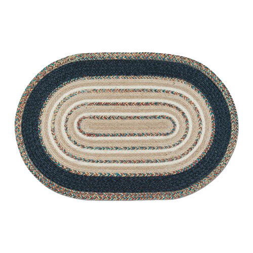 Blue and Beige 20 x 30 Oval Braided Floor Rug ITC-782