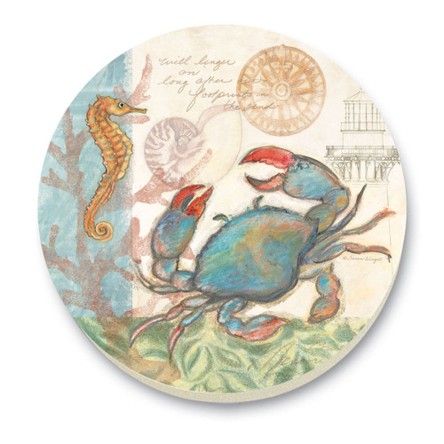Blue Crab with Seahorse Stone Trivet