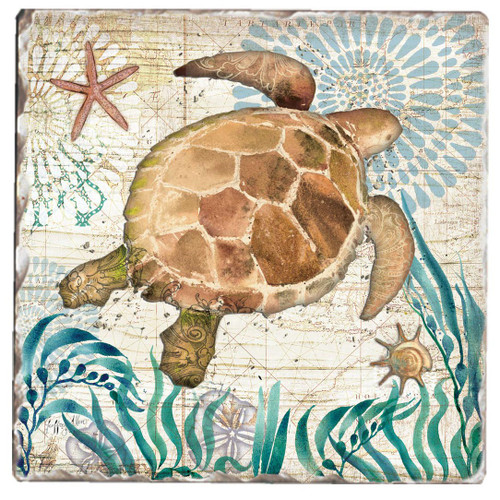 Swimming Honu Sea Turtle Tumbled Tile Trivet