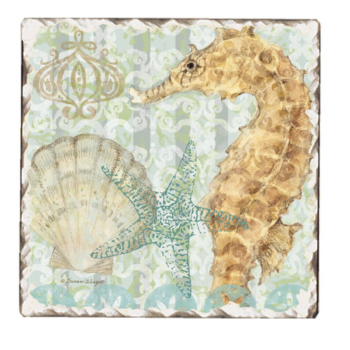 Seahorse and Scallop Tumbled Stoneware Trivet