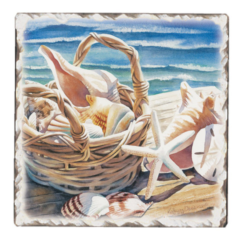 Beach Days Square Tumbled Stoneware Trivet