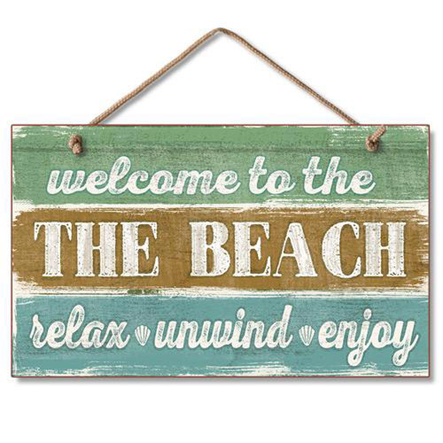 "Beach Wood Sign ""Welcome to the Beach"" Relax Unwind Enjoy"