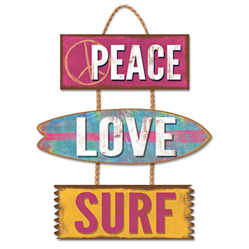 Peace Love Surf - Wooden Sign