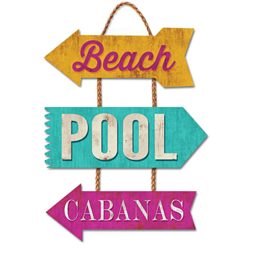 Beach Pool Cabanas - Wooden Sign