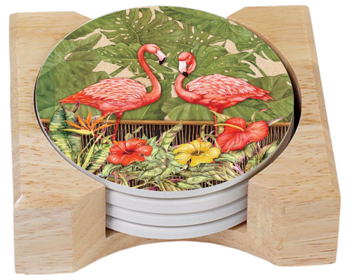 Tropical Flamingos Absorbent Stone Coasters