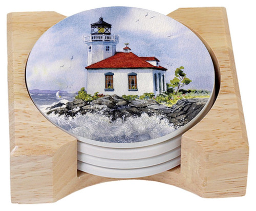 Lighthouse Absorbent Stone Coasters - Set of 4 - Wood Tray