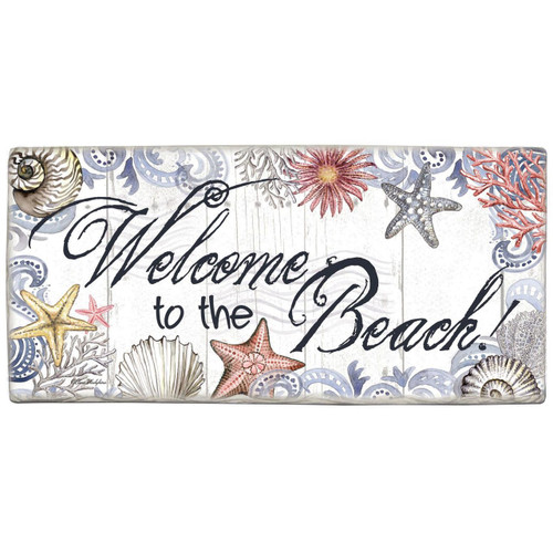 "Wall Sign ""Welcome to The Beach"" - Printed Stone Sign 8"" x 4"" 33914"