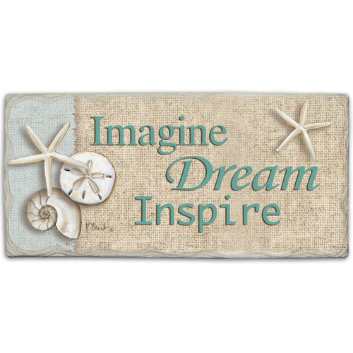 "Beach Wall Sign ""Imagine Dream Inspire"" - Printed Stone Sign 8"" x 4"""
