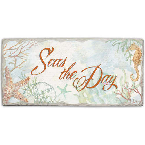 "Beach Wall Sign ""Seas The Day"" - Printed Stone Sign 8"" x 4"""