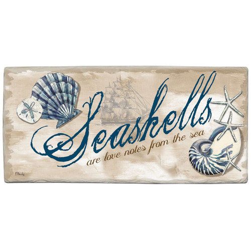 "Beach Wall Sign ""Seashells are love notes from the sea"" - Printed Stone Sign 8"" x 4"" - 33904"