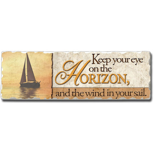 "Beach Wall Plaque ""Keep Your Eye on the Horizon"" - Printed Stone Sign 8"" x 2"" - 35051"