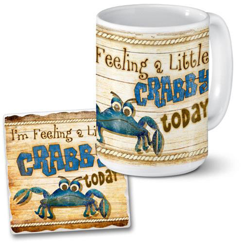 """Feeling a little Crabby Today"" Beach Ceramic Coffee Mug and Coaster Set - 15oz"