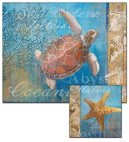 Sea Turtle Glass Cutting Board with a Starfish Trivet