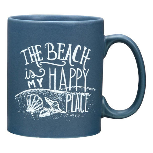 """Beach is my Happy Place"" - Oversized Ceramic Coffee Mug"