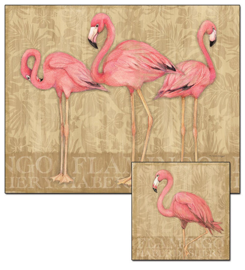 Flamingo Family Glass Cutting Board with a Pink Flamingo Trivet