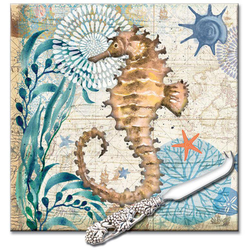 "Sea Horse Cutting Board 8"" x 8"" - Monterey Bay - 26568"