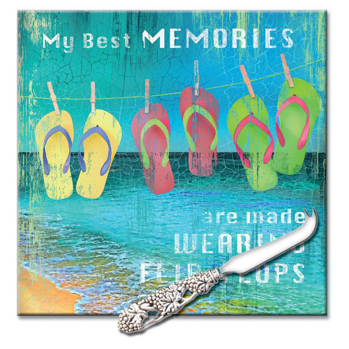 "Flops Cutting Board 8"" x 8"" - ""Best Memories"
