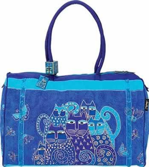 "Laurel Burch ""Indigo Cats"" Overnighter Travel Tote LB414"