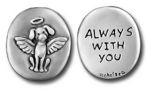 "Dog Angel Pewter Pocket Token ""Always With You"" - Remember a Pet forever"