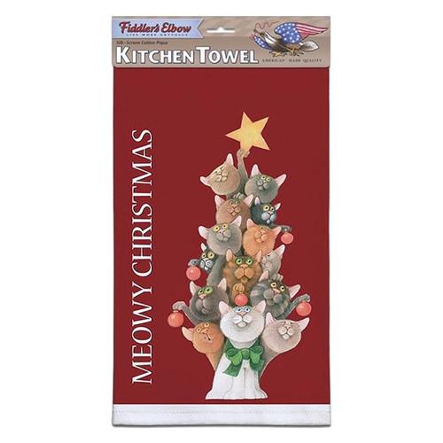 "Cat Holiday Kitchen Towel ""Meowy Christmas"" - FE-K842"
