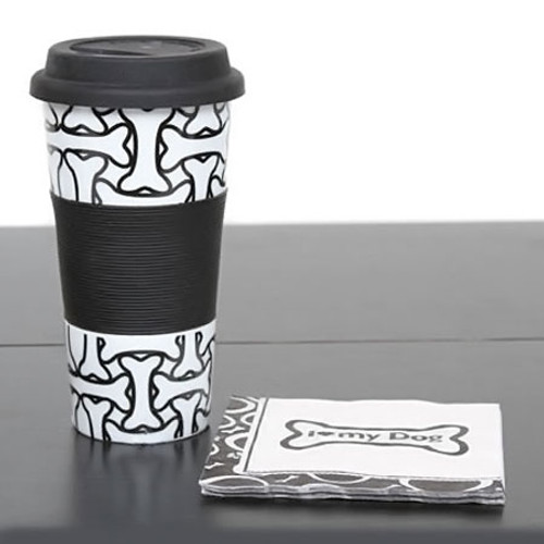 Dog Bone Stoneware 13oz Travel Mug 45082