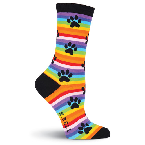 "Cat Socks ""Rainbow Stripe Paw Prints"" KBWF15H063-01"