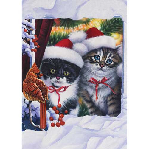 """Cat Holiday Garden Flag """"Kittens in the Window"""" - 110559"""