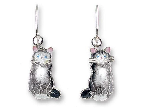 "Cat Sterling Silver Drop Earrings ""Gray & White"" 196501"