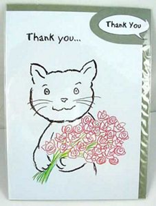 "Cat Thank You Greeting Card ""Flowers for You"" by Michael Foreman - 203355"