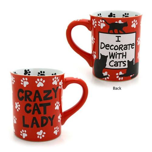 "Cat Theme Mug ""Crazy Cat Lady"" Red - 4026109"