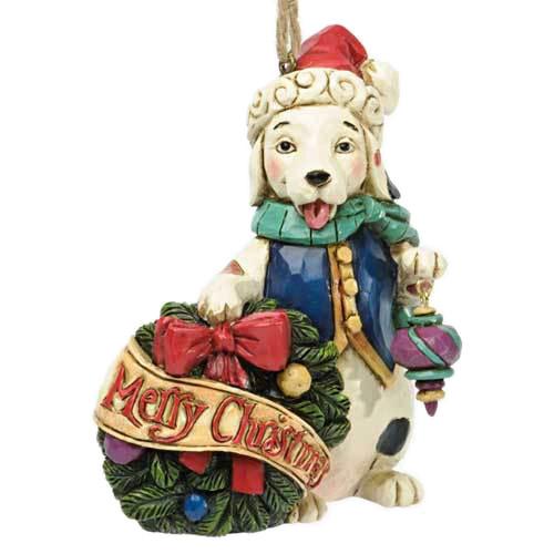 Merry Christmas Sitting Dog Ornament 4034409