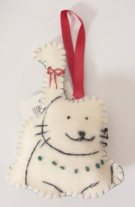 Cat Christmas Ornament Hand Stitched - White - 8601305W