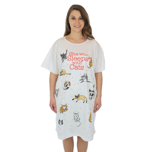 "Cat Theme Sleep Shirt Pajamas ""She Who Sleeps With Cats"" - 00631T"